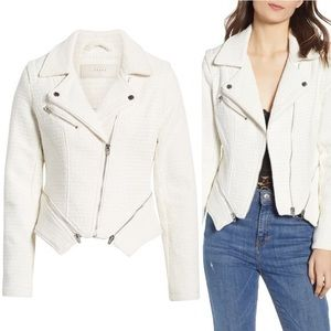 Blank NYC White tweed Moto Jacket